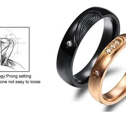 2 pcs - Titanium Matching Couple Ri..