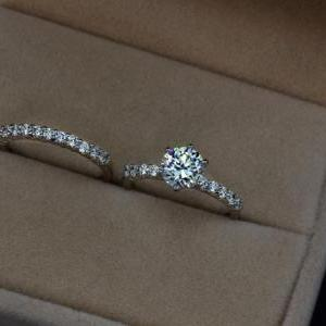 Bridal Set Ring 1.75 Carat Round Cu..
