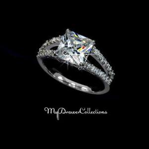 White Gold Rhodium Plated Princess ..