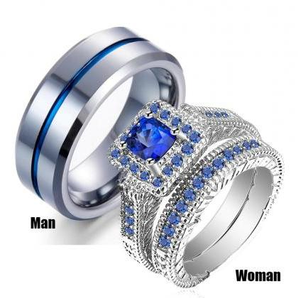 His & Hers Couple Ring Set Women Pl..