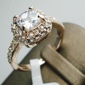 18K RGP Princess Cut Zircon Halo We..