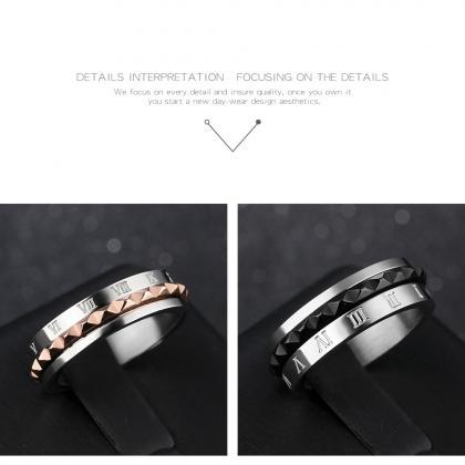 Couple Rings (2pc Set) - Roman Nume..