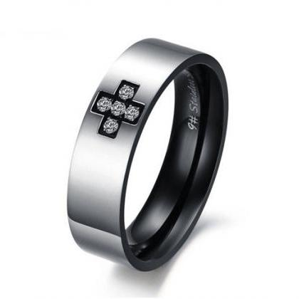 Matching Couple Ring Bands - Cross ..