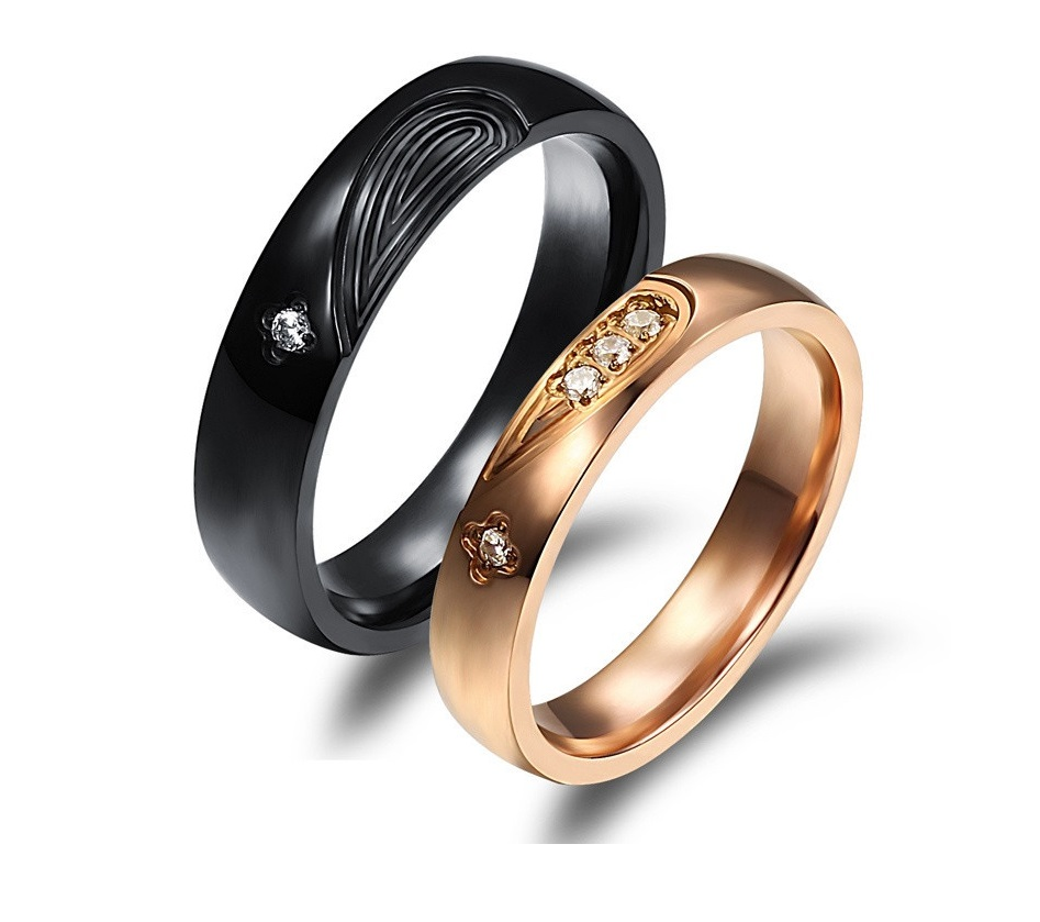 2 pcs - Titanium Matching Couple Ring Band Set (avail sizes 5 thru 10)