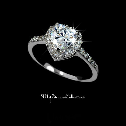 Dazzling White Gold Plated Heart Shaped Cubic Zirconia Love Ring with micro CZ's (sz 5.5 - 9)