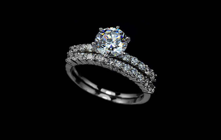 Bridal Set Ring 1.75 Carat Round Cut Cubic Zirconia Two Ring Set Engagement Ring Set, Wedding Ring Set, Solitaire Stacking Band Ring