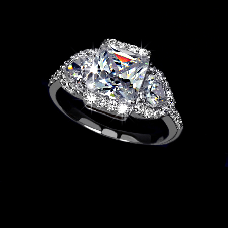 White Gold Rhodium Plated Princess Cut w/ 2 heart shapes CZ on both sides Halo Engagement Ring - sizes 5.5 to 9