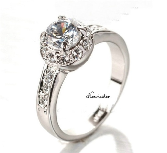 SZ 6.5, 8, 9 - White Gold Plated Halo Austrian Crystal Ring