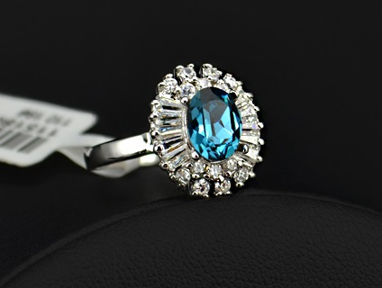 White Gold Plated CZ and Austrian Turquoise Blue Crystal inlaid - sz 5.5 thru 9