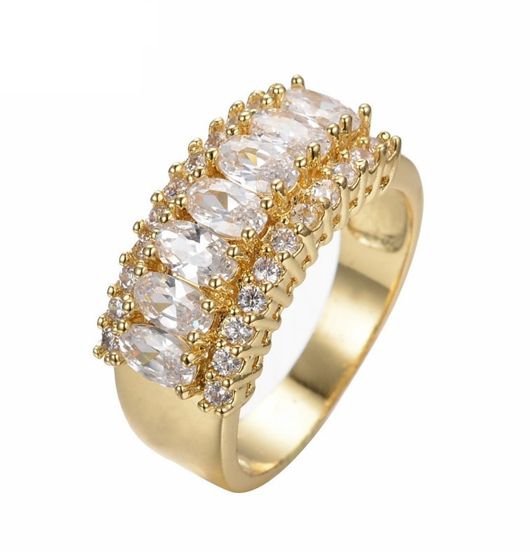 Stunning 14KT Yellow Gold Filled White AAA Zircon Ring for Women - Sizes 6 thru 12