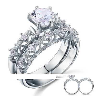Victorian Art Deco 1.25 Carat CZ Diamond Solid Sterling Silver - 2Pcs Ring Set (sizes from 6 thru 9)