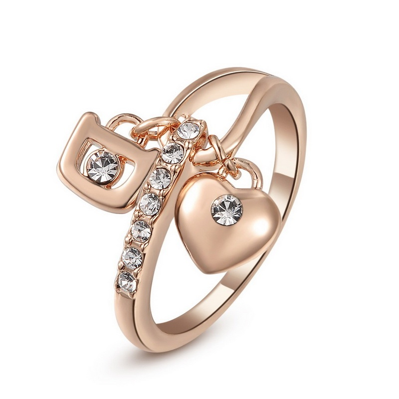 Rose Gold Crystal Heart and Padlock Charm Ring (Sizes 5.5, 6, 6.5, 8, 9)