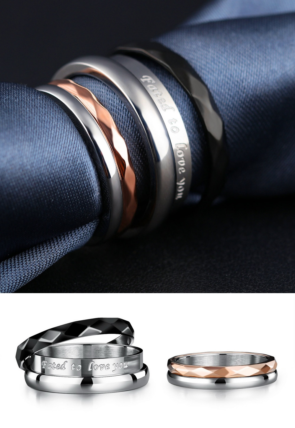 2 in 1 Removable Titanium Couple Rings - 2 piece Set