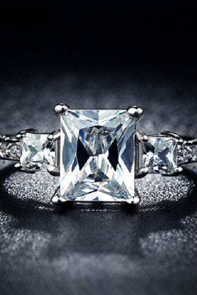 Elegant White Gold Plated Princess Cut Engagement Ring (Sz 6, 7, 8, 9)