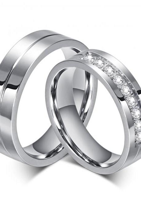 Stainless Steel CZ Matching Couple Rings (2pc Set) Promise Rings (avail sizes 5 thru 13)