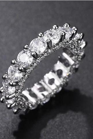 Dazzling White Round Cut Wedding Eternity Ring - sizes 5, 6, 7, 8