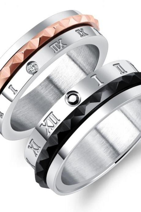 Couple Rings (2pc Set) - Roman Numerals Wedding Ring Bands Rotatable Spinner Design Black/ Rose Gold For Him & Her