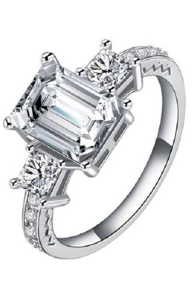 18K White Gold Plated Princess Cut AAA+ CZ Engagement Ring (Sz 6 thru 9)