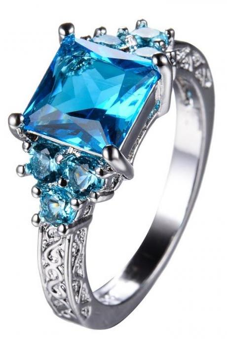 Aquamarine White Gold Filled Ring in size 6 thru 11