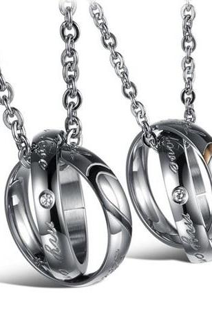 Him & Her Heart-Shaped Matching Couple Necklace Set - Couple Ring Necklaces
