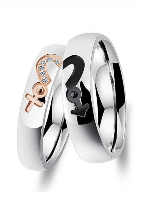 Him & Her Stainless Steel Couple Ring Set - featuring Male and Female Symbol Sign; Lovers Ring