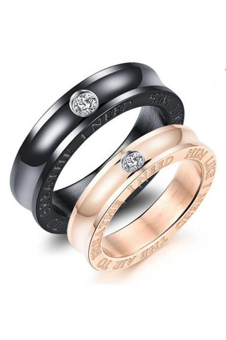 Couple Ring - I Need Him Like I Need Air To Breathe CZ Engagement Band/ Lover Ring