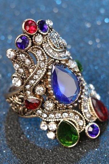 Beautiful Turkish Royal Crystal Ring - available sizes 7, 8, 9, 10