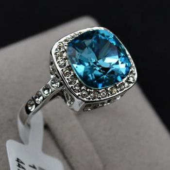 WGP Turquoise Blue Sapphire Crystal Promise Ring - Halo Ring - Sizes 5.5 thru 9