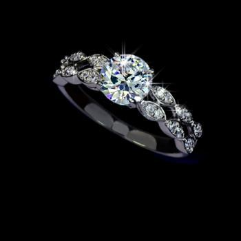 SALE - Stunning White Gold Plated 1.25Ct Swiss Cubic Zirconia w/ Leaf Mounting Engagement Ring - avail in woman sz 5.5, 6.5, 8, 9