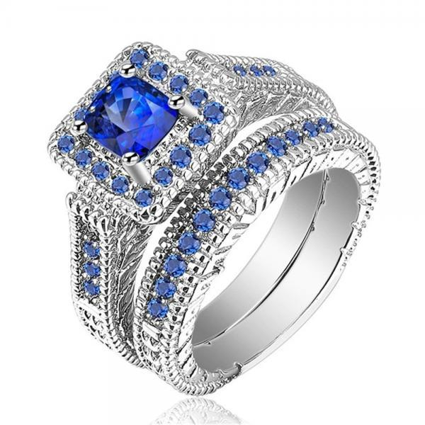 His & Hers Couple Ring Set Women Platinum White Blue CZ Stone Engagement (avail sizes 5 thru 13)