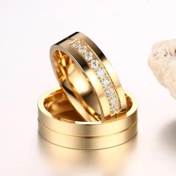 Stainless Steel Gold CZ Matching Couple Rings (2pc Set) Promise Rings (avail sizes 5 thru 13)