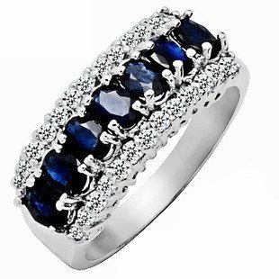Stunning White Gold Filled Midnight Blue Sapphire Ring - avail sizes 6 thru 9