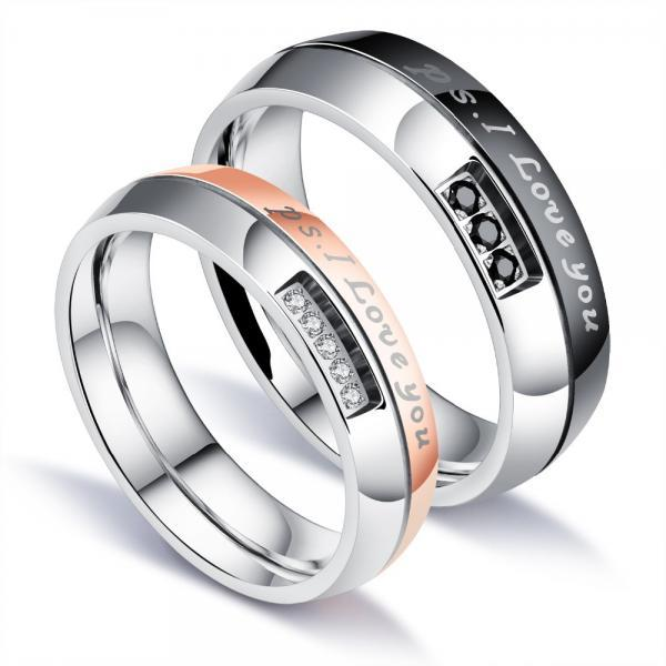 Couple Rings (2pc) - I LOVE YOU Engraved Words For Couples with Pave Cubic Zirconia in Black/Rose - Sz 5 to 10