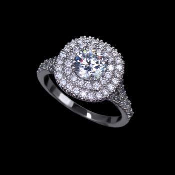 Glittering Cubic Zirconia Paved Halo Anniversary Ring - sizes available in 5, 6.25, 7.5, 8.75 only