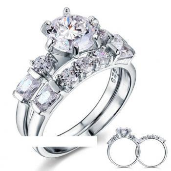 Art Deco 2Ct CZ Diamond Solid Sterling Silver 2-pc Ring Set (sizes from 6 thru 9)