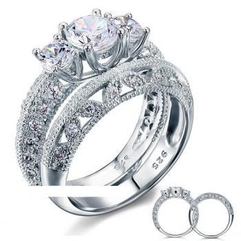 Victorian Art Deco 1.5 Carat CZ Diamond Solid Sterling Silver - 2Pcs Ring Set (sizes from 6 thru 9)