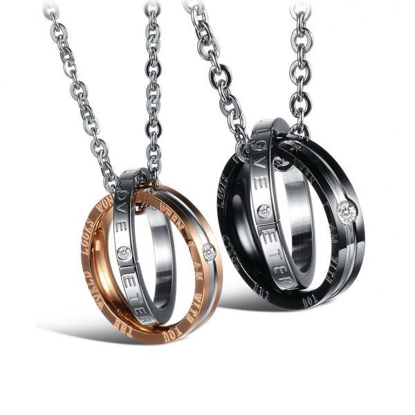 Couple Necklace Set - For Him & For Her Love + Eternity Titanium Necklace; Stainless Steel Jewelry, For Couple or Lovers;