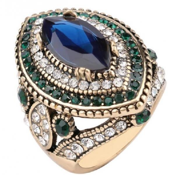 Gorgeous Turkish Blue Mosaic Crystal Ring - sz 7 thru 10
